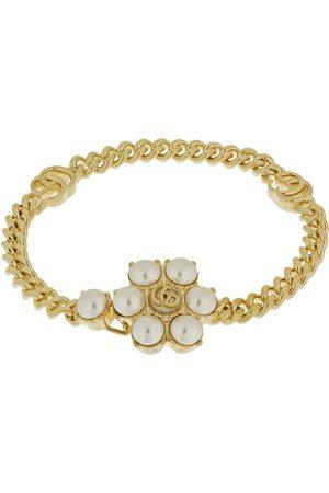 Gucci Gg Marmont & Faux Pearl Chain Bracelet