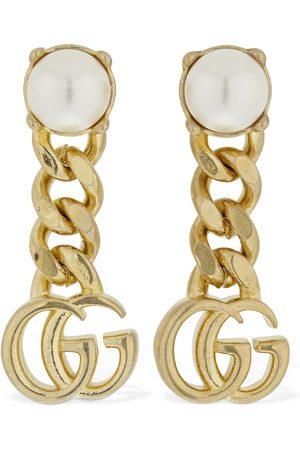 Gucci Gg Marmont Drop Earrings W/ Faux Pearl