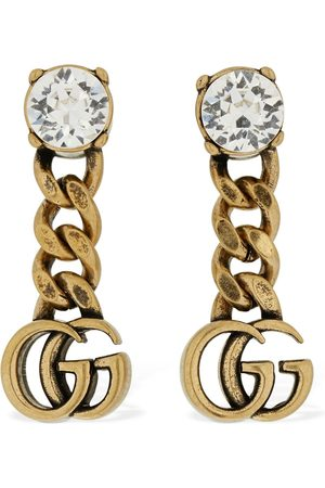 Gucci Gg Marmont Drop Earrings W/ Crystal