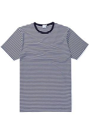 Sunspel Q8 Short Sleeve Crew Neck English Stripe T-Shirt White/Navy