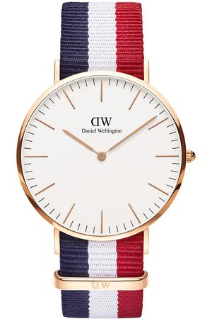 Daniel Wellington Cambridge And Rose Gold Detail 40Mm Dial Red, And Blue Stripe Nato Strap Watch