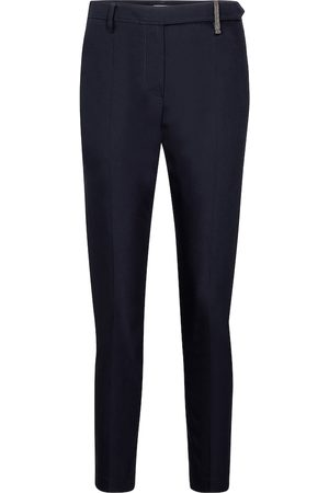 Brunello Cucinelli High-rise stretch-cotton slim pants