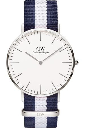 Daniel Wellington Glasgow And Silver Gold Detail 40Mm Dial Blue And Stripe Nato Strap Watch