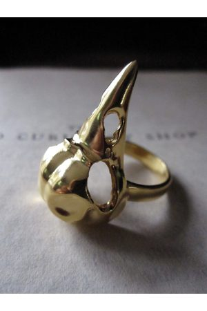 Window Dressing the Soul Women Rings - Wdts 925 Gold Plated Bird Skull Ring