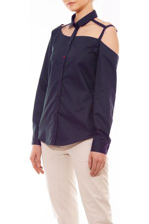 Talented One Shoulder Button Down Bouse Navy
