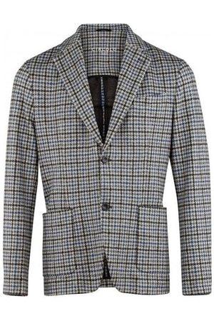Circolo Mens CN2384 Fleece Dogtooth Print Jacket in