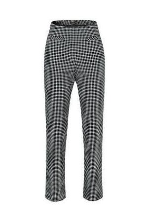 STEHMANN Loli5-742 narrow leg check trousers black and white 901