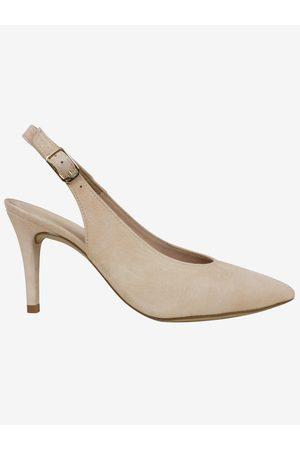 unisa Cream Slingback Suede Shoes