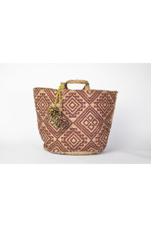 Yunion T Plum and Natural Coloured Large Ikat Style Hand Woven Basket