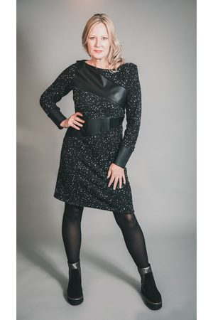 Elsewhere Clothing Women Dresses - ELSEWHERE ADELE DOT FITTED FLEECE & FAUX LEATHER DRESS