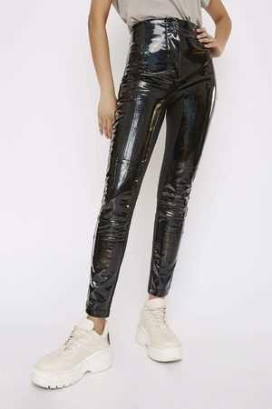 Whyte Studio Women Trousers - THE 'TURBULENT' HOLOGRAPHIC HIGHWAISTED TROUSERS
