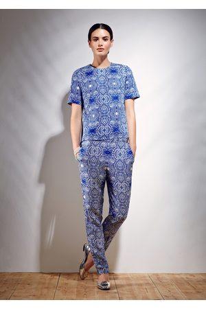 Uzma Bozai Women Trousers - Mehindi Trousers - Electric Cotton Viscose