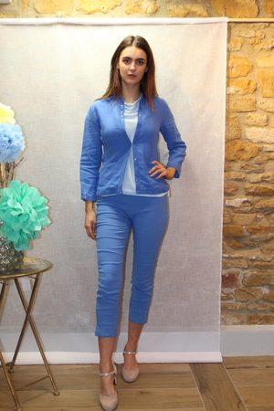 120% Lino Sequin Trim Jacket in Lapis