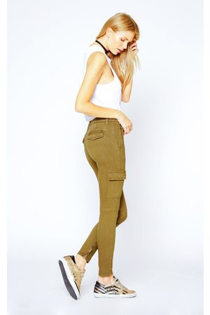 Black Orchid Women Cargo Trousers - Camille Skinny Cargo - Army