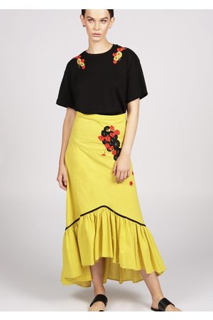 MARAINA LONDON MALLORIE cotton midi skirt with ruffle hem and handmade embroidery- in