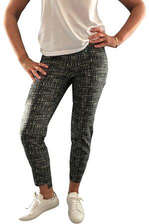"""Up Pants Women Skinny Trousers - 66796 28"""" Slim Leg Side Slit Pull On Trouser - / White Weave"""