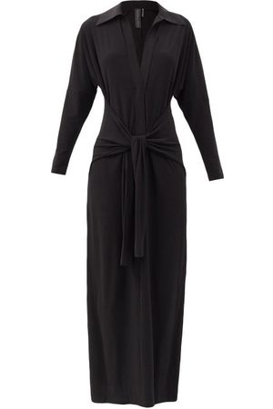Norma Kamali Tie-front Stretch-jersey Maxi Dress - Womens