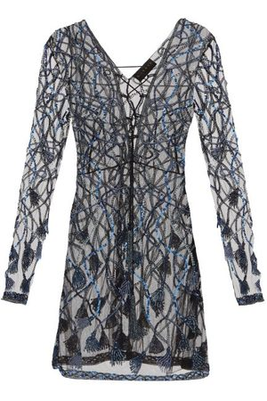 Dundas Laced-front Sequinned And Beaded Mini Dress - Womens
