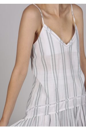 MARAINA LONDON AXELLE striped cotton cami top with handmade embroidery and eyelet-lace trim