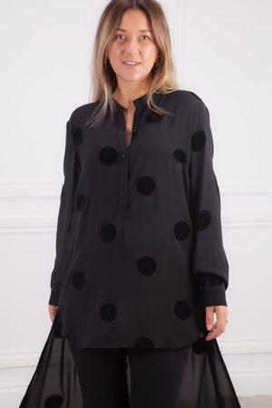 CREA Black Long Velvet Spot Tunic