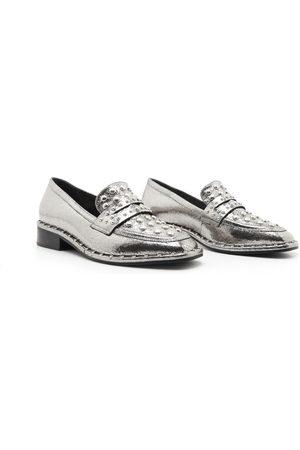 Schutz Metallic Silver Loafers