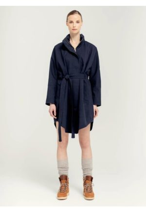 Brgn By Lunde & Gaundal Women Coats - Bris Poncho Coat Dark Navy