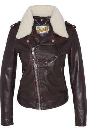 Schott NYC LCW2607 Lady Perfecto Jacket with Removable Sheepskin Collar Plum