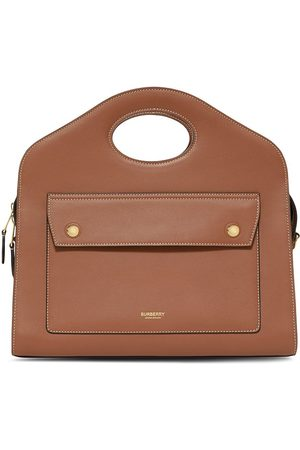 Burberry Small leather pocket tote bag