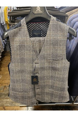 Guide London Men Blazers - Cream With Navy & Brown Prince of Wales Check Suit Waistcoat