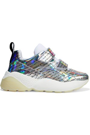 Stella McCartney Woman Eclypse Logo-print Holographic Faux Leather Exaggerated-sole Sneakers Size 35