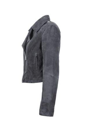 Oakwood Women Leather Jackets - Zulina Petrol Suede Biker Jacket