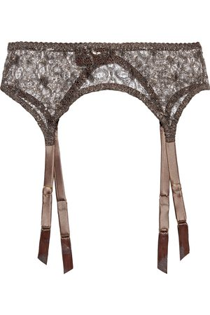 MYLA Women Accessories - Woman Rosemoor Street Metallic Leavers Lace And Satin Suspender Belt Chocolate Size L
