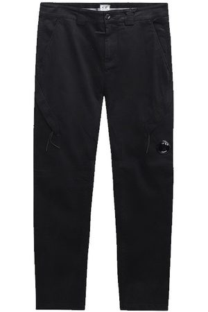 CP Company Men Cargo Trousers - C.P. Company Garment Dyed Lens Pocket Cargo Pants Black