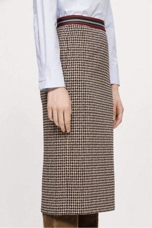 Luisa Cerano Houndstooth Checked Skirt With Elasticated Waist 528255/2468