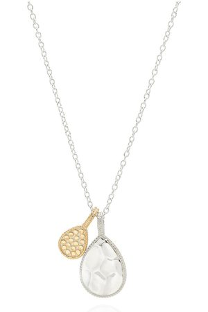 Anna Beck Signature hamered and Dotted Double Drop Necklace and Gold