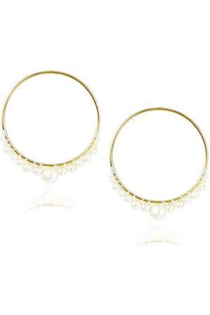 Mou White Pearl Hoop Vermeil Earrings