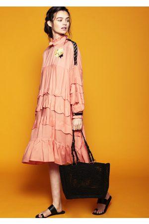 MARAINA LONDON MADELEINE raffia tote bag in Black