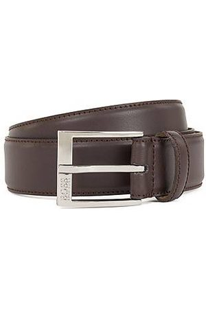 HUGO BOSS Men Belts - Smooth-leather belt with tonal stitching detail