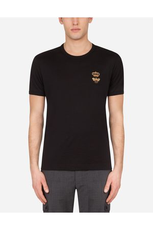 Dolce & Gabbana Men Short Sleeve - T-Shirts and Polos - COTTON T-SHIRT WITH FRENCH WIRE PATCH male 44