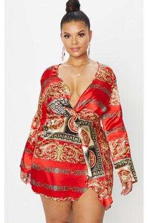 PRETTYLITTLETHING Plus Printed Satin Long Sleeve Wrap Dress