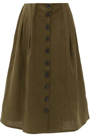 ART SCHOOL Nurse Pleated Linen Skirt - Womens - Khaki
