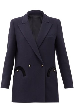 Blazé Milano Resolute Double-breasted Wool Suit Jacket - Womens - Navy