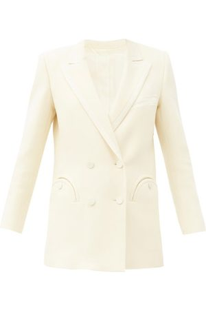 Blazé Milano Resolute Double-breasted Wool-twill Suit Jacket - Womens - Cream
