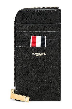Thom Browne Pebble Grain Half-Zip Wallet in