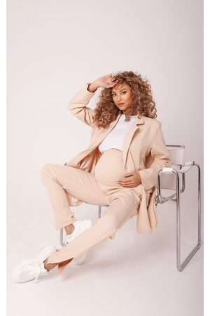 PRETTYLITTLETHING Maternity Camel Bump Support Suit Trousers
