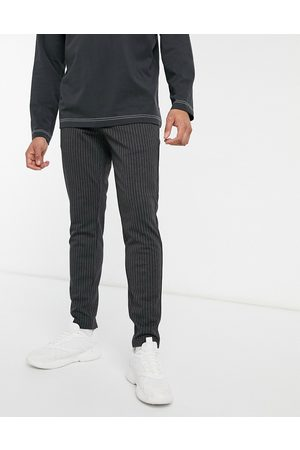 Only & Sons Stretch smart trouser in dark pinstripe