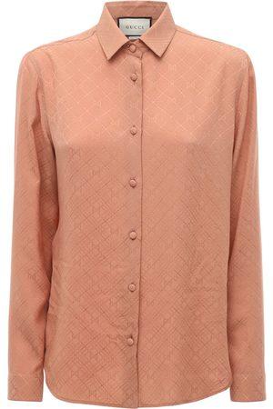 Gucci Gg Print Silk Crepe Shirt