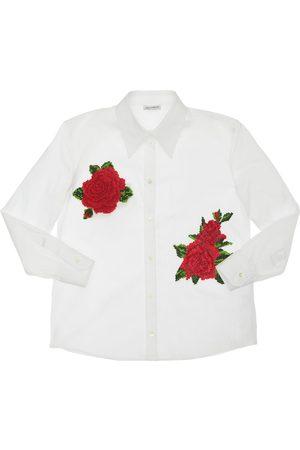 Dolce & Gabbana Poplin Shirt W/ Rose Patches