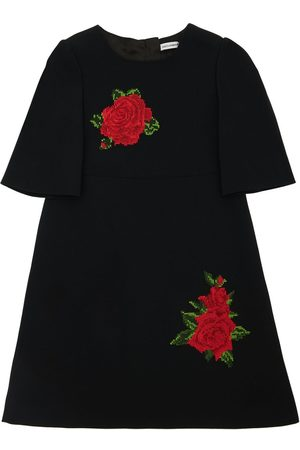Dolce & Gabbana Sleeveless Cady Dress W/ Rose Patches