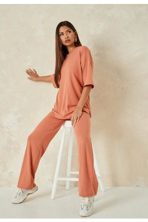 Missguided Rust Rib T Shirt And Wide Leg Trousers Co Ord Set